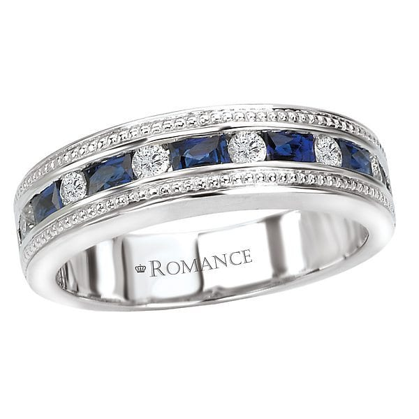 Matching Wedding Band, 18kt gold, Stones: Diamond - White, Sapphire