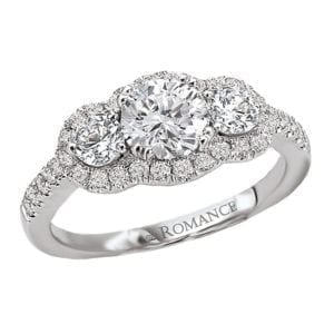 3 Stone Semi-Mount Diamond Ring