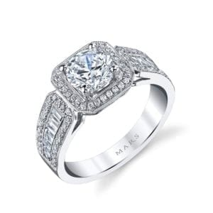 25098  Diamond Engagement Ring 0.27 Ct Rd, 0.38 Ct Bg.