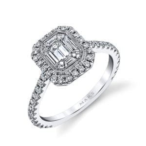 25169 Diamond Engagement Ring 0.53 Ct Rd, 0.20 Ct Em, 0.26 Ct Bg.