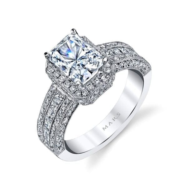 25322  Diamond Engagement Ring 0.72 Ct Rd, 0.47 Ct Pr.