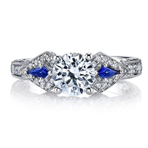 25774 Diamond Engagement Ring 0.18 Ct Dia, 0.15 ct Saph.