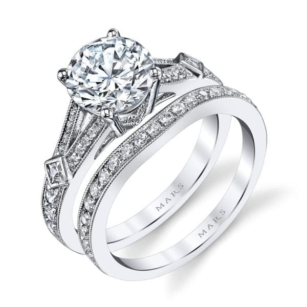 25913 Diamond Engagement Ring 0.13 Ct Pr, 0.28 Ct Rd.